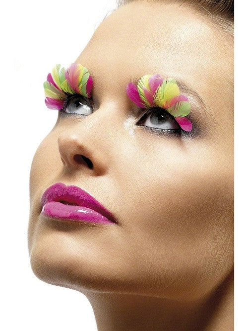 Fever, Eyelashes, Multi-coloured Neon Feather