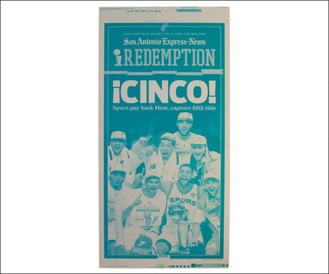 'CINCO' San Antonio Express Sports Press Plate & Sleeve