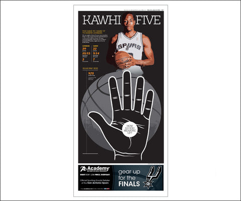 'Kawhi Five' San Antonio Express Sports Front Poster