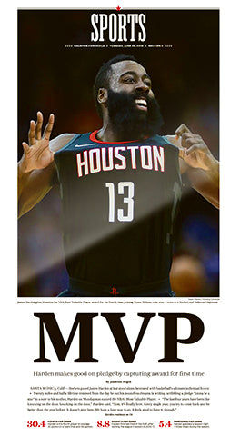 "NBA MVP Frameable High Gloss Front-Page Reproduction (11""x22"")"