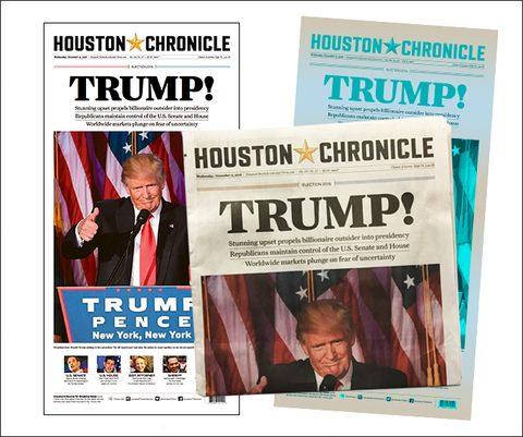Trump Package 1: Newspaper, Poster, Press Plate & Plexi Sleeve