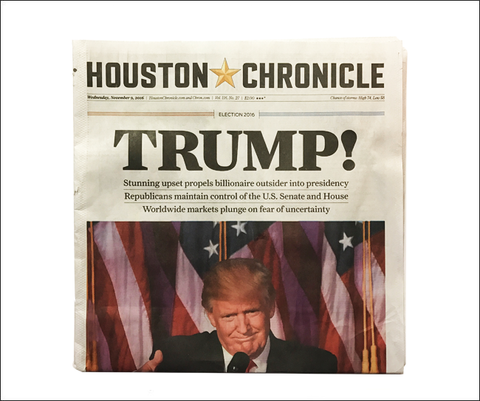 Donald Trump: Houston Chronicle Election Newspaper of Nov. 9, 2016