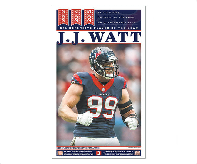 J.J. Watt 'NFL Defensive POY' Houston Chronicle Sports Front Poster