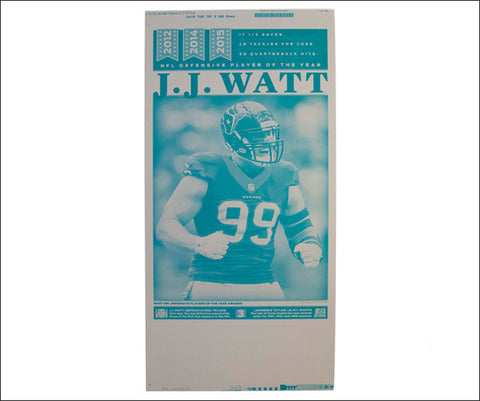 J.J. Watt 'NFL Defensive POY' Houston Chronicle Sports Press Plate