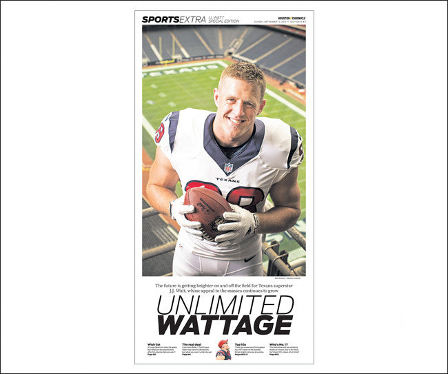 'Unlimited Wattage' Houston Chronicle Sports Front Poster