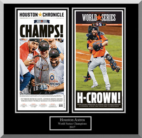 2017 Astros Coverage 2 Page Wood Frame with Black Background