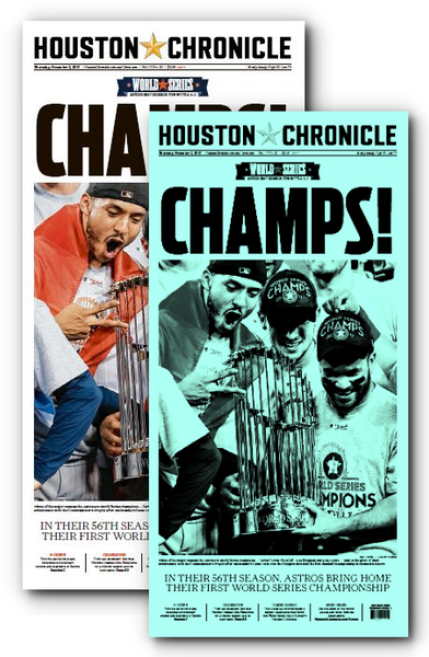 "CHAMPS! Press Plate and Frameable High Gloss Front-Page Reproduction (11""x22"")"