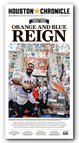 "Orange and Blue REIGN Frameable High Gloss Front-Page Reproduction (11""x22"")"
