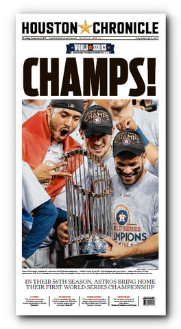 "CHAMPS! Frameable High Gloss Front-Page Reproduction (11""x22"")"
