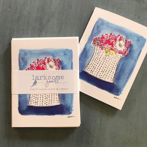 Pink peonies - small folded card
