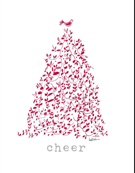 "Red tree ""cheer"" holiday card"
