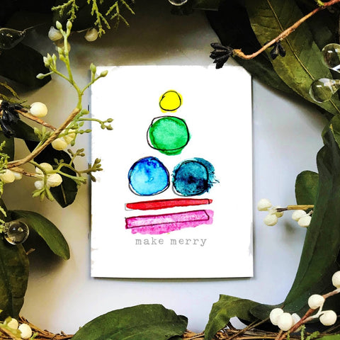 Abstract watercolor tree holiday card