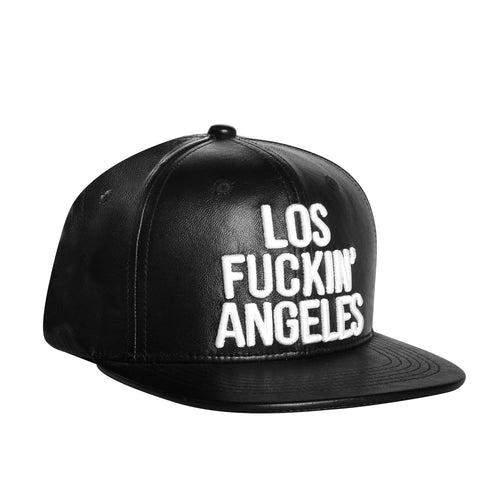 Los Fuckin' Angeles Baseballcap Hat - Snapback/Watch (Lambskin Leather)
