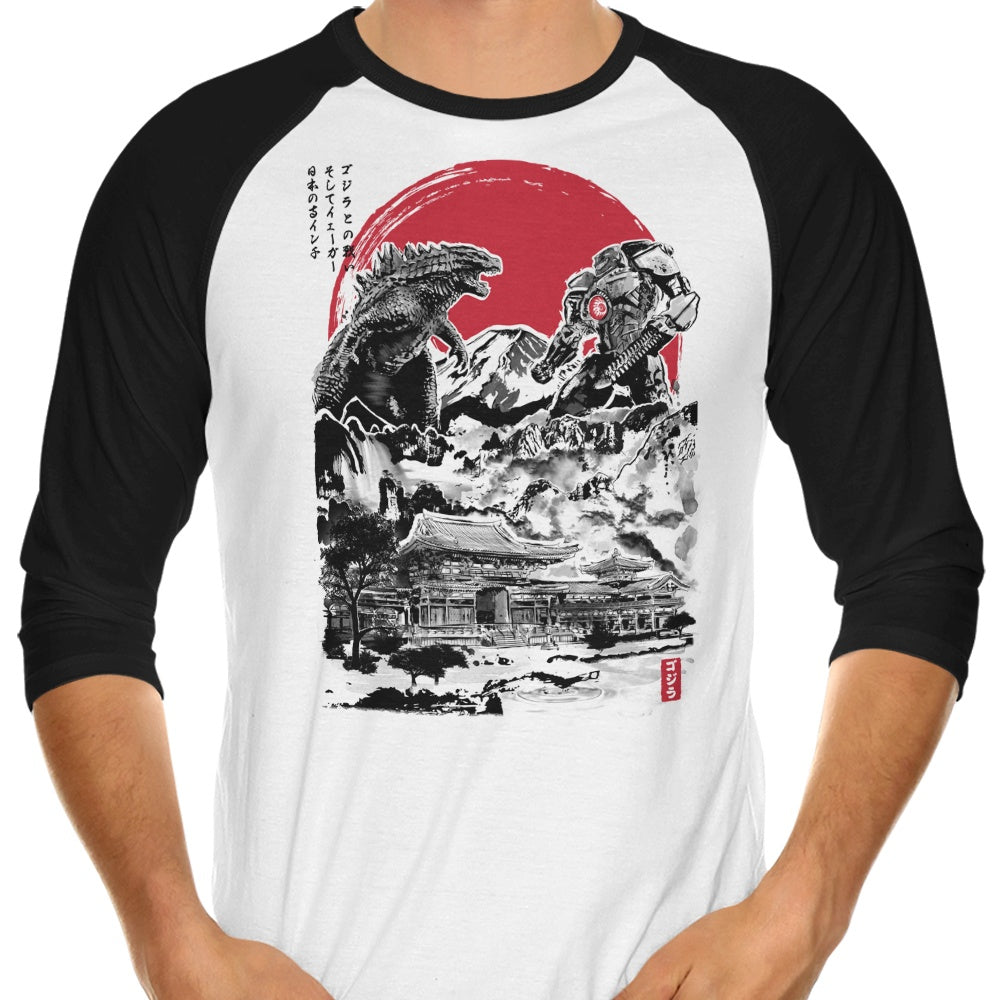 Attack on Japanese Temple - 3/4 Sleeve Raglan T-Shirt
