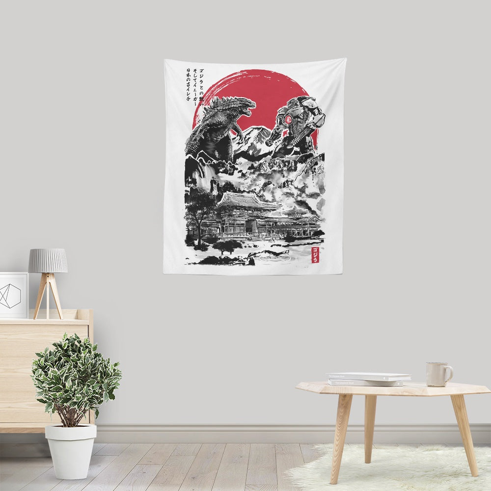 Attack on Japanese Temple - Wall Tapestry