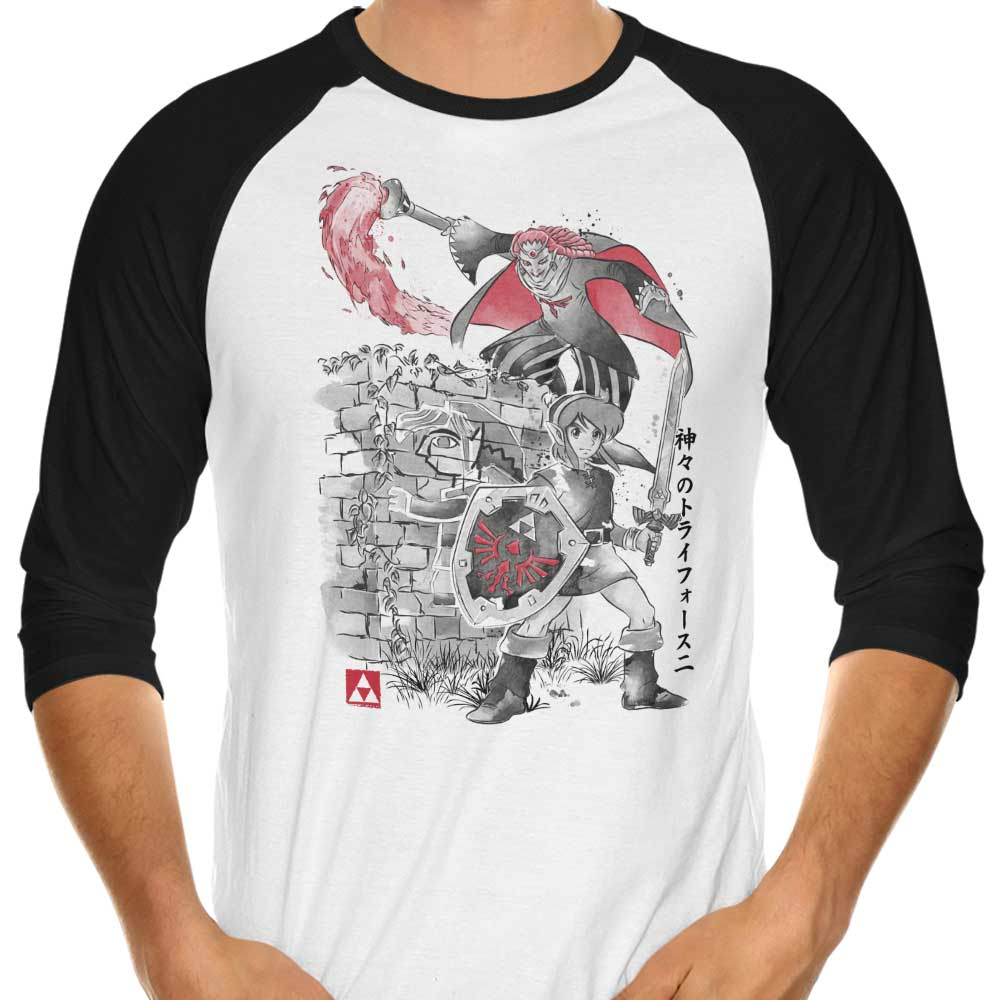 Between Worlds Sumi-e - 3/4 Sleeve Raglan T-Shirt