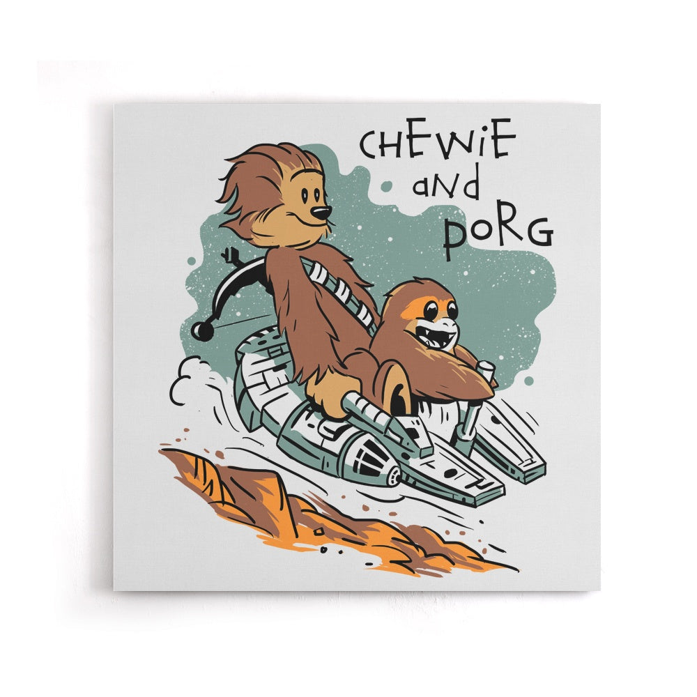 Chewie and Porg - Canvas Print