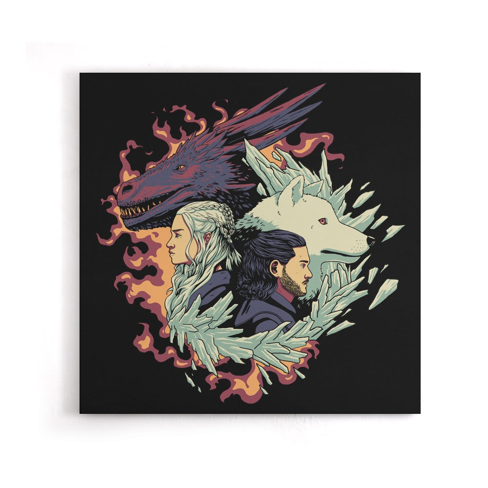 Dragons and Wolves - Canvas Print