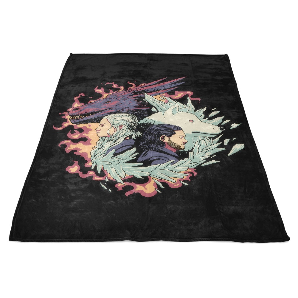 Dragons and Wolves - Fleece Blanket