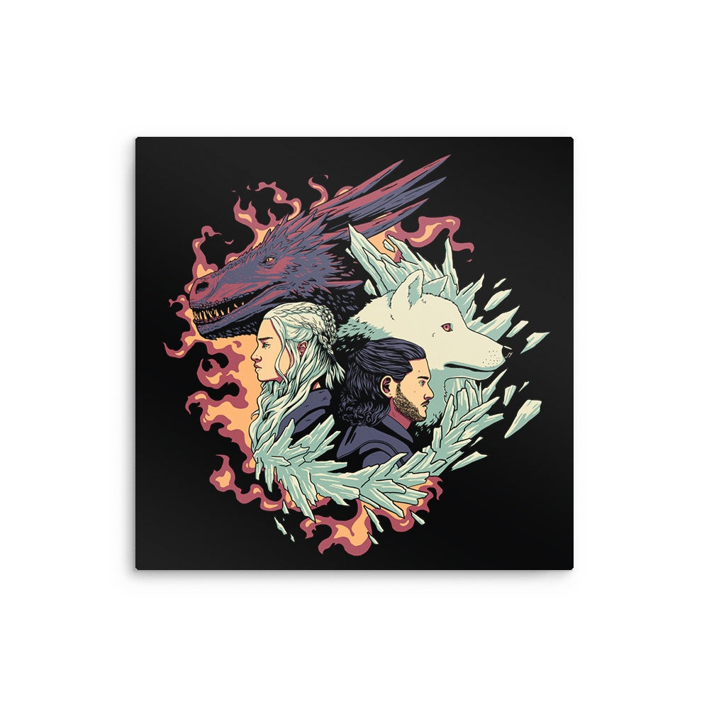 Dragons and Wolves - Metal Print