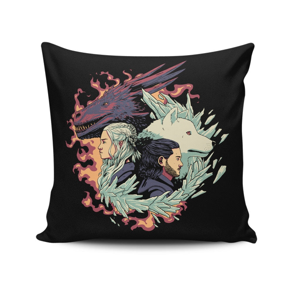 Dragons and Wolves - Throw Pillow