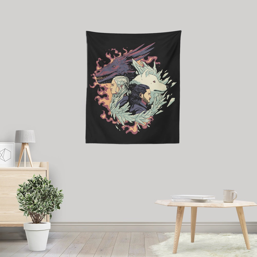 Dragons and Wolves - Wall Tapestry