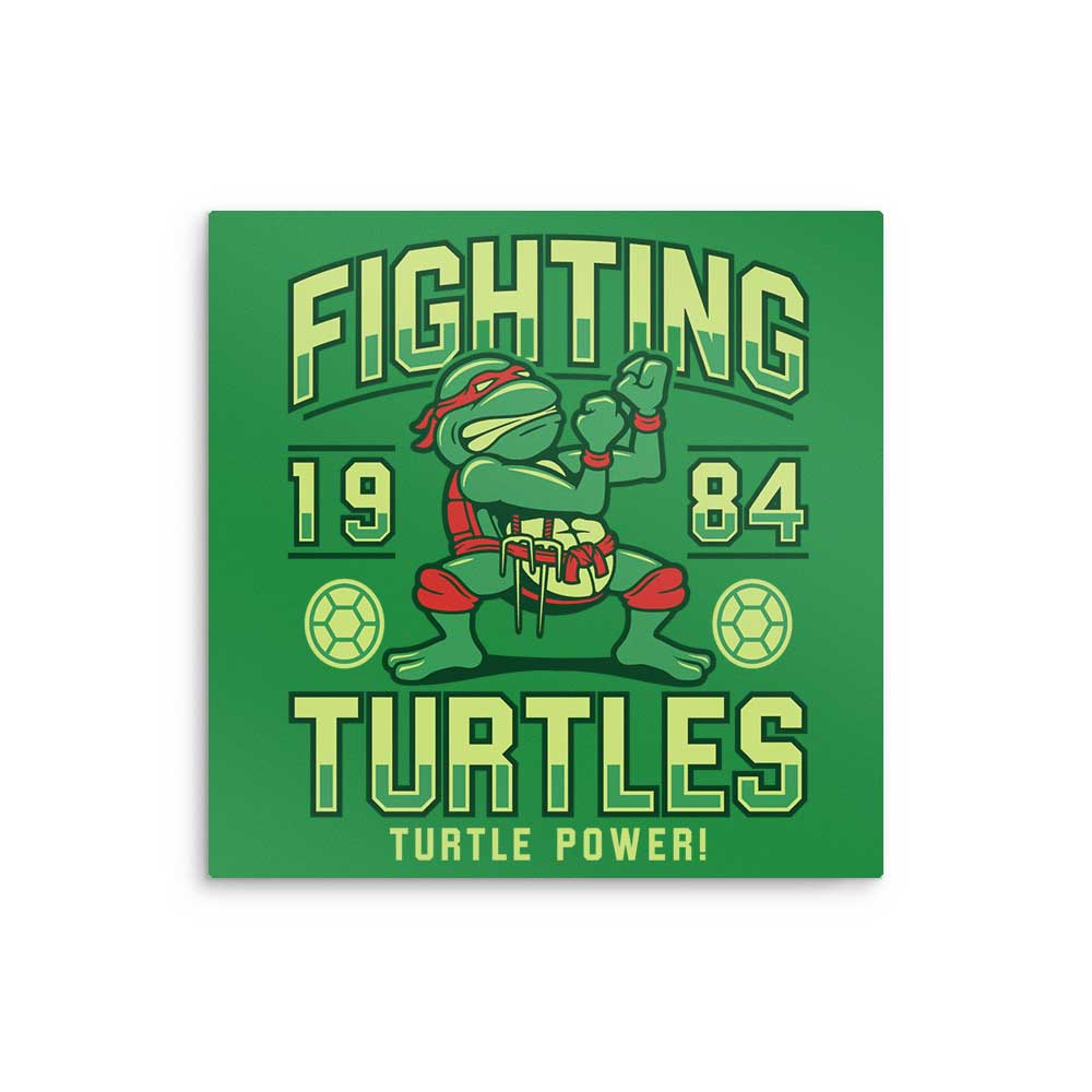 Fighting Turtles - Metal Print