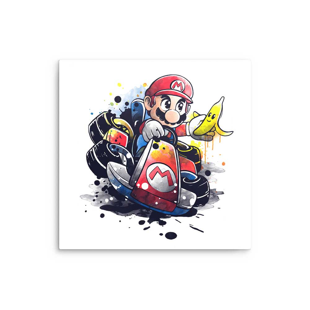 Go Kart Watercolor - Metal Print