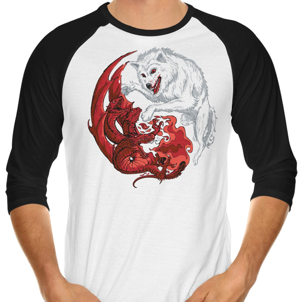 Ice and Fire - 3/4 Sleeve Raglan T-Shirt