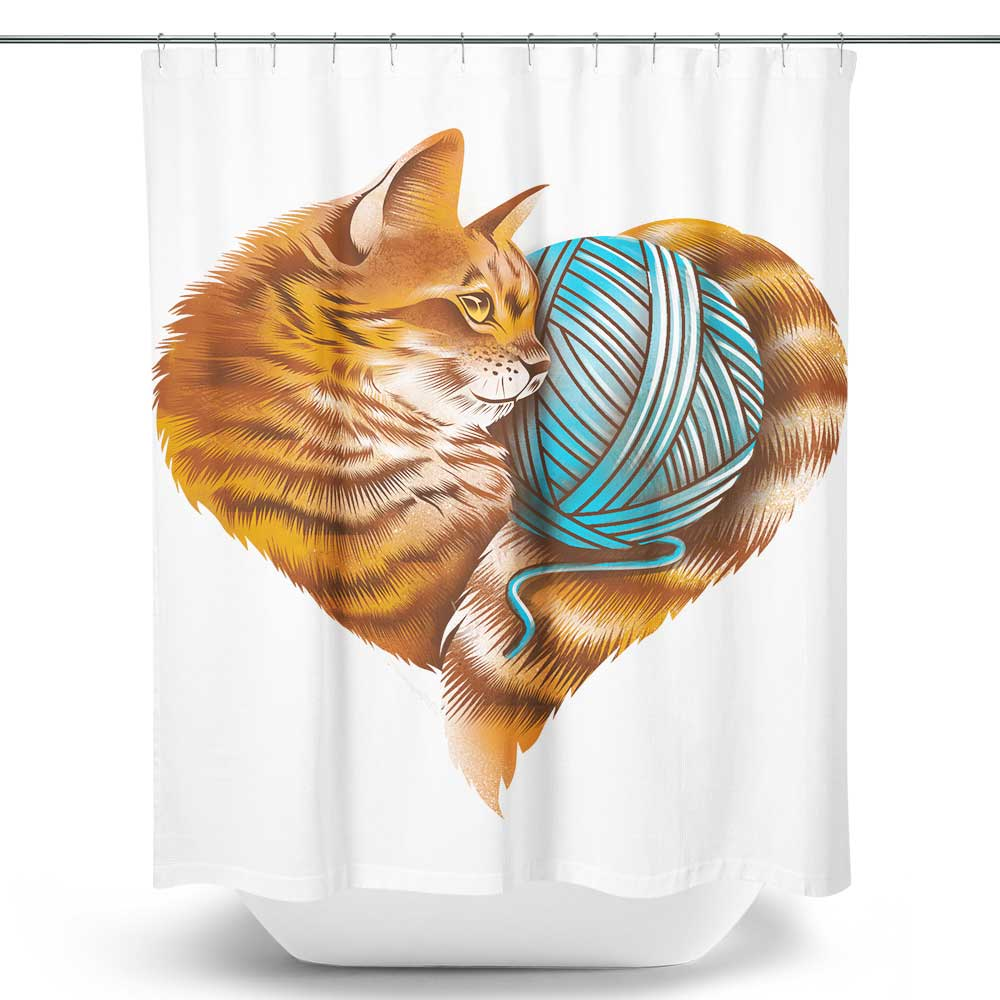 Knitting Kitten Love - Shower Curtain