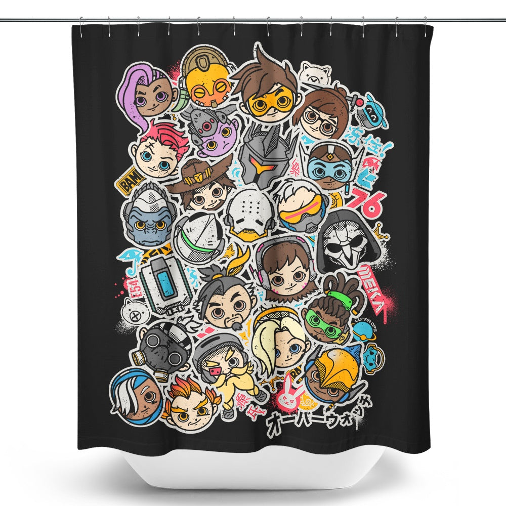 Overcute Heroes - Shower Curtain