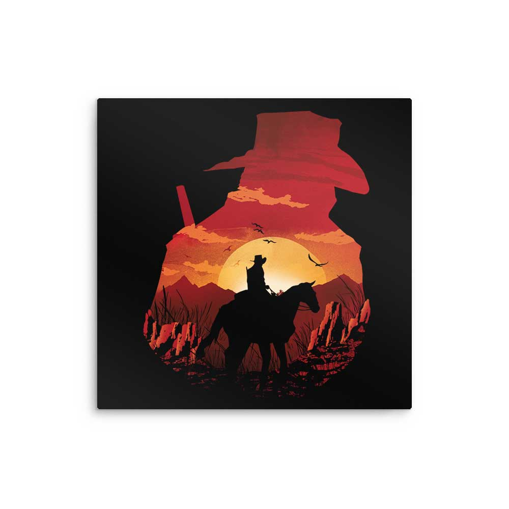 Red Dead Sunset - Metal Print
