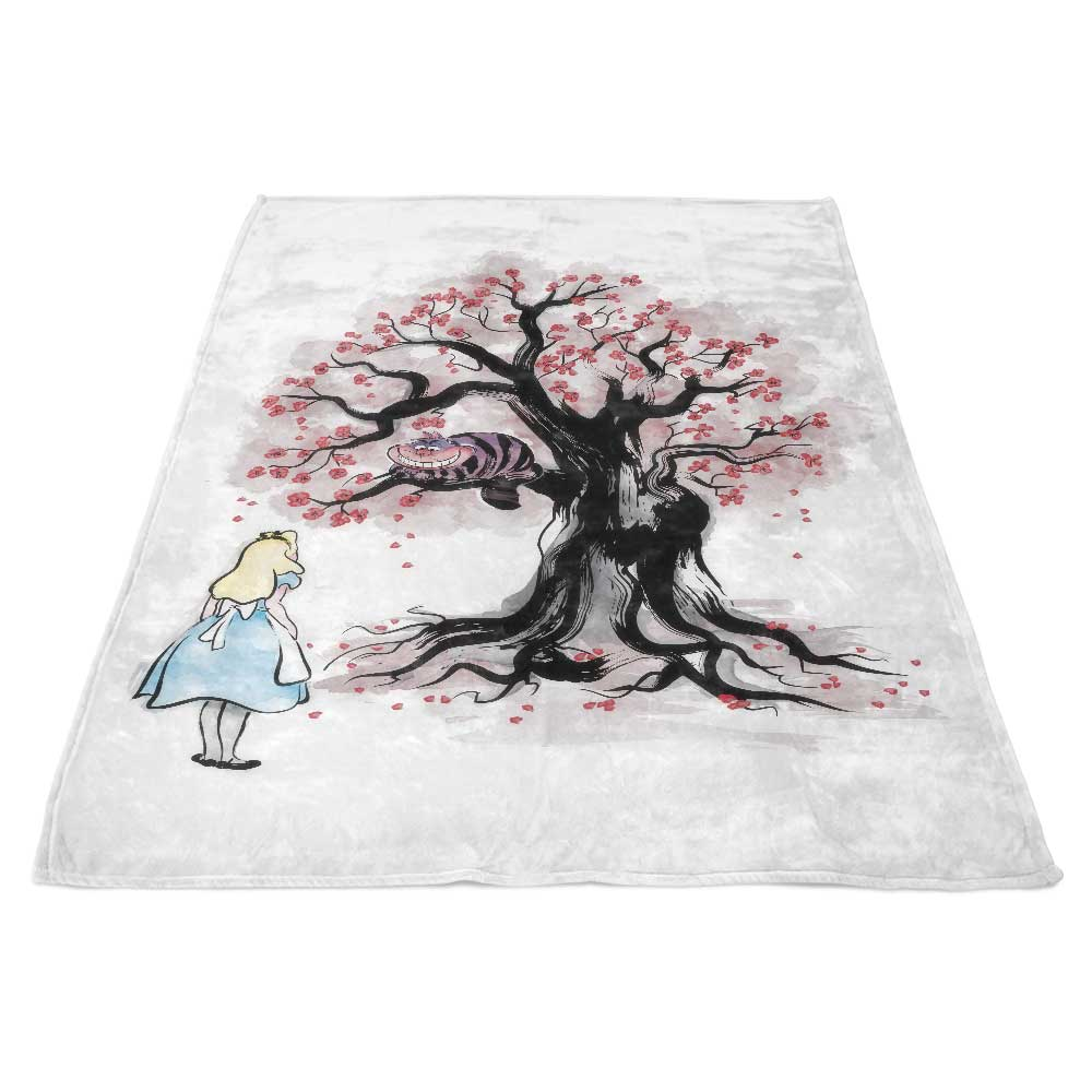 The Cheshires Tree Sumi E Fleece Blanket Once Upon A Tee