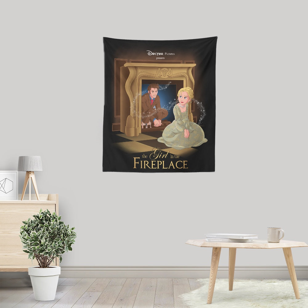 The Girl in the Fireplace - Wall Tapestry