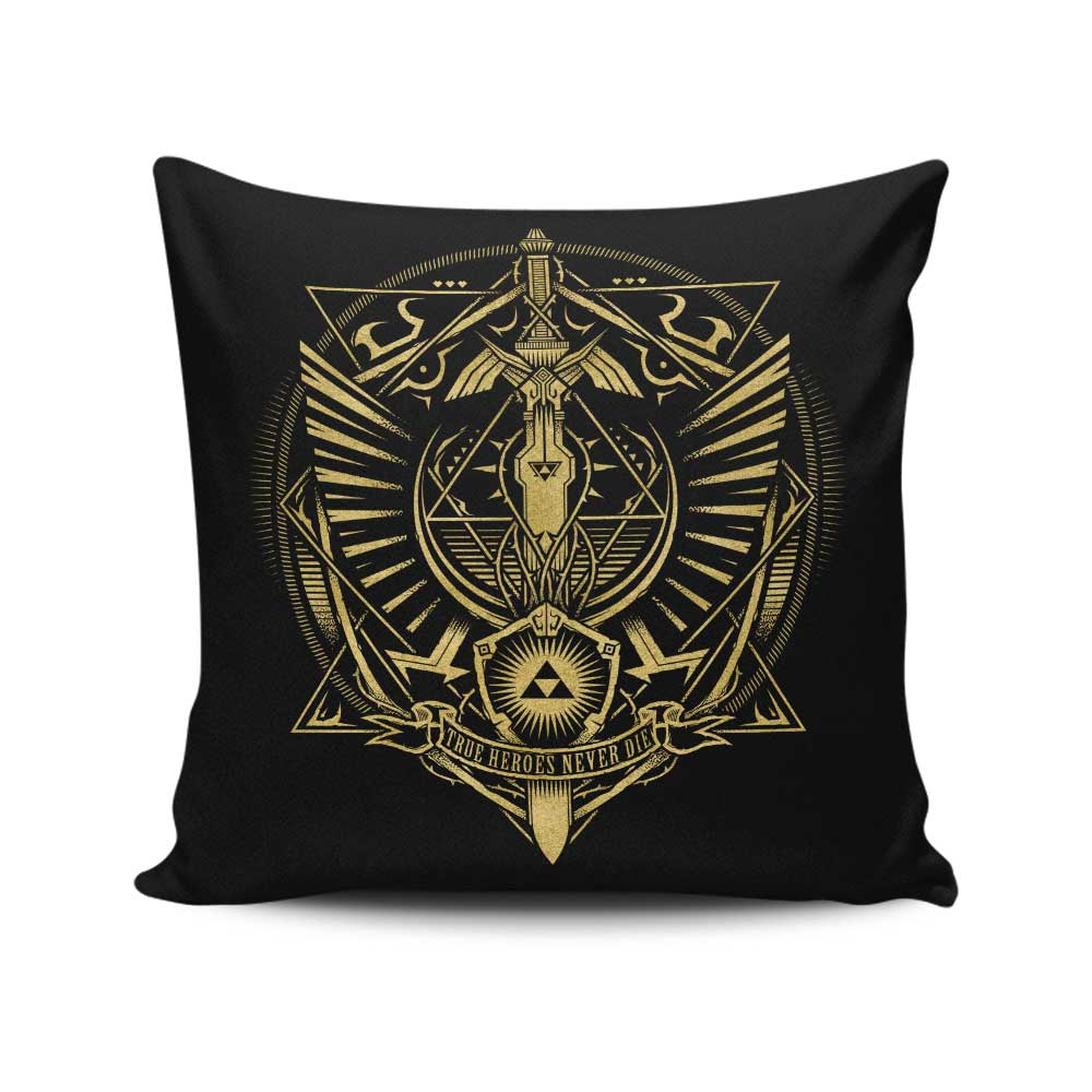 True Heroes Never Die (Gold) - Throw Pillow