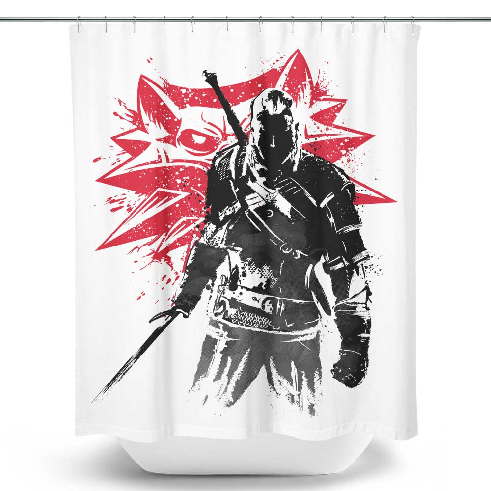 White Wolf Sumi-e - Shower Curtain