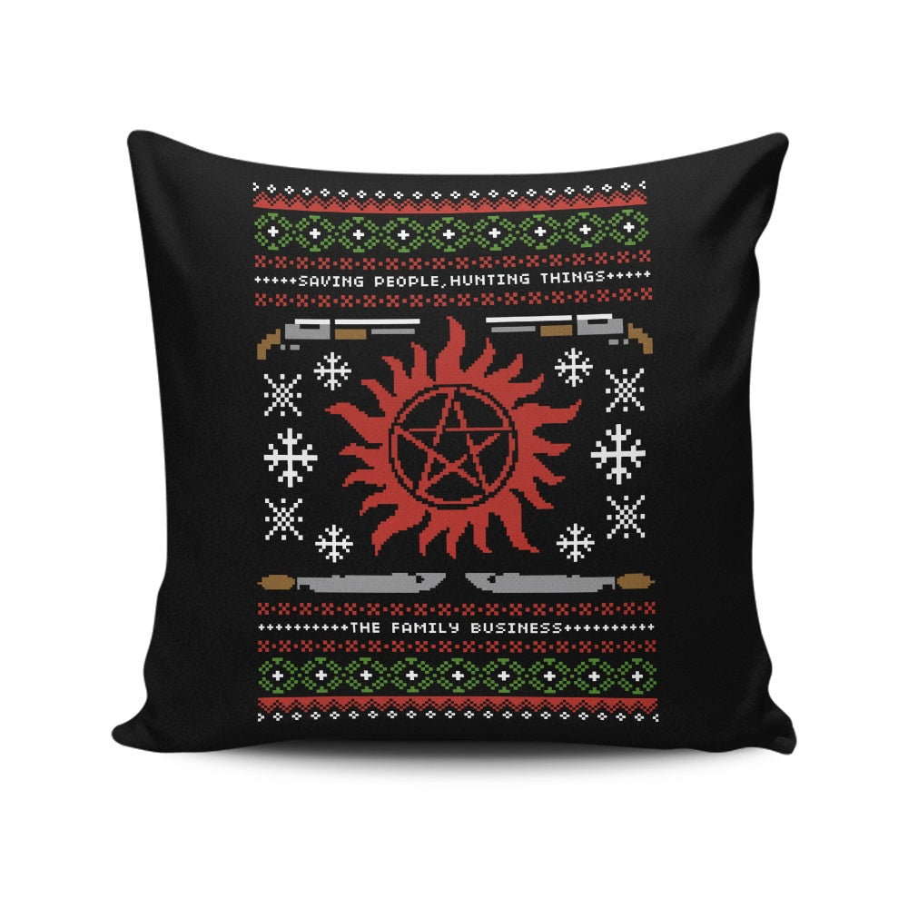 Wrapping Presents, Hunting Things - Throw Pillow