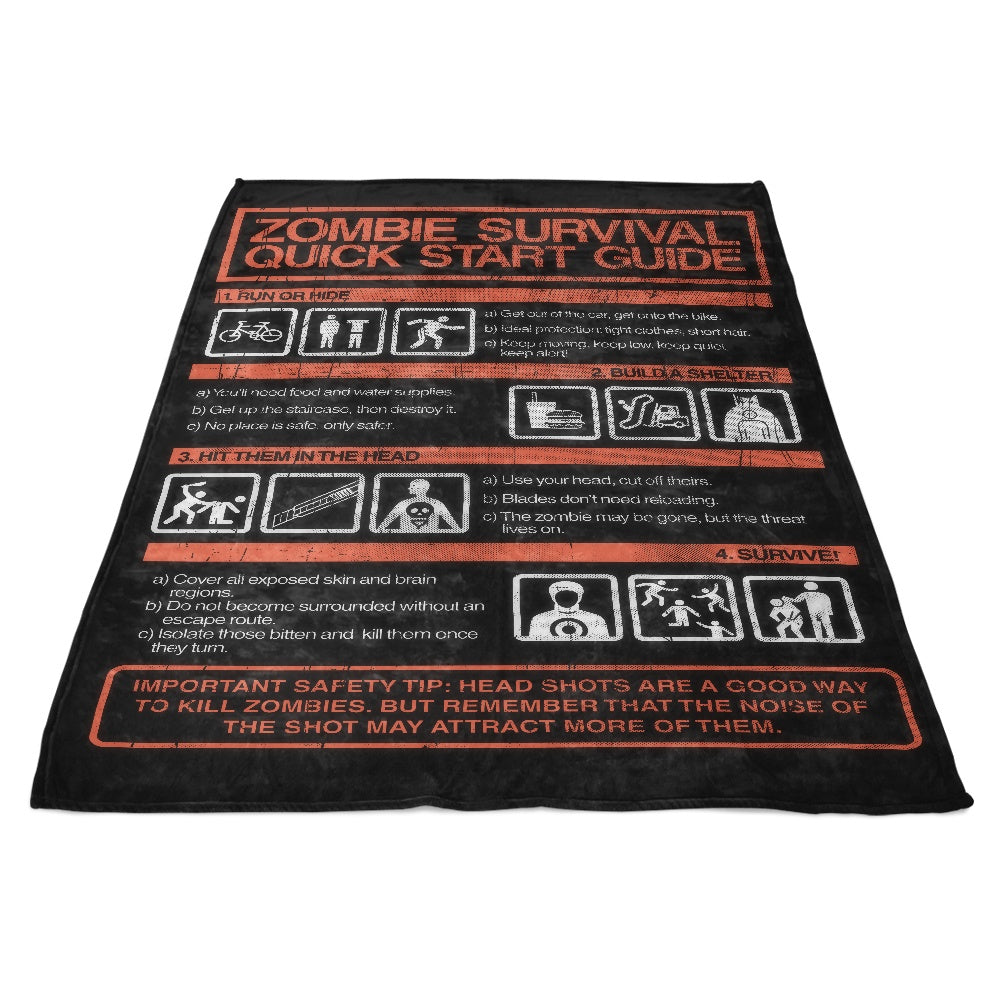Zombie Survival Quick Start Guide - Fleece Blanket