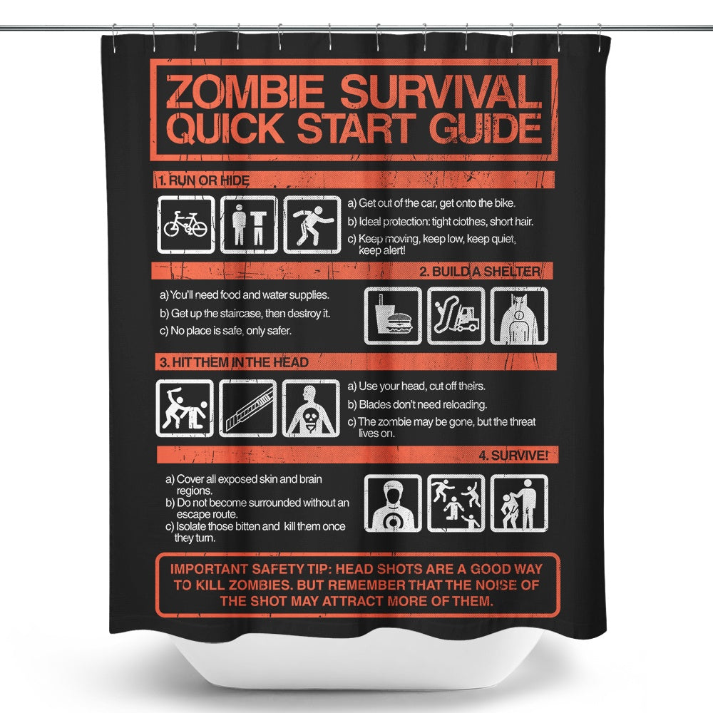 Zombie Survival Quick Start Guide - Shower Curtain