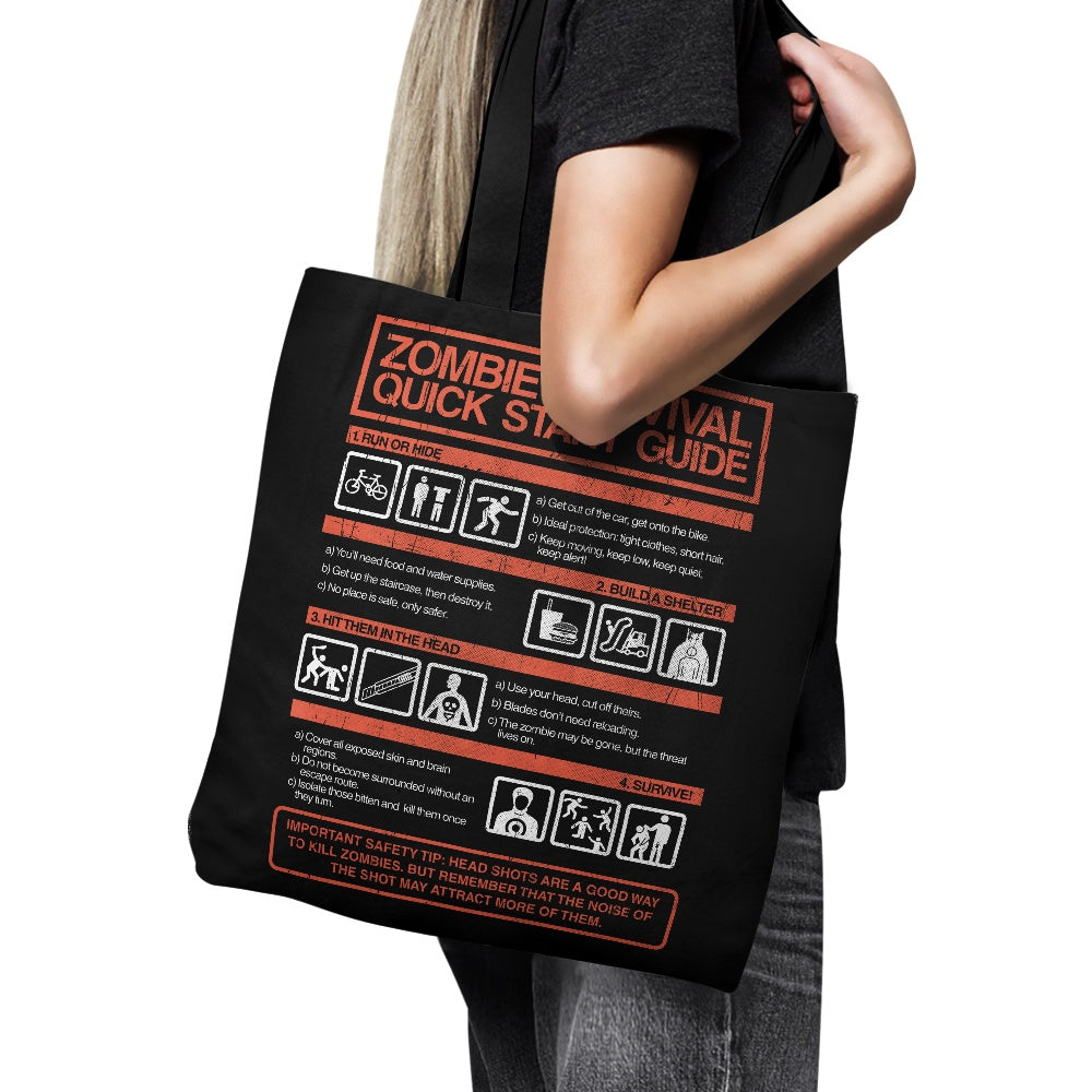 Zombie Survival Quick Start Guide - Tote Bag
