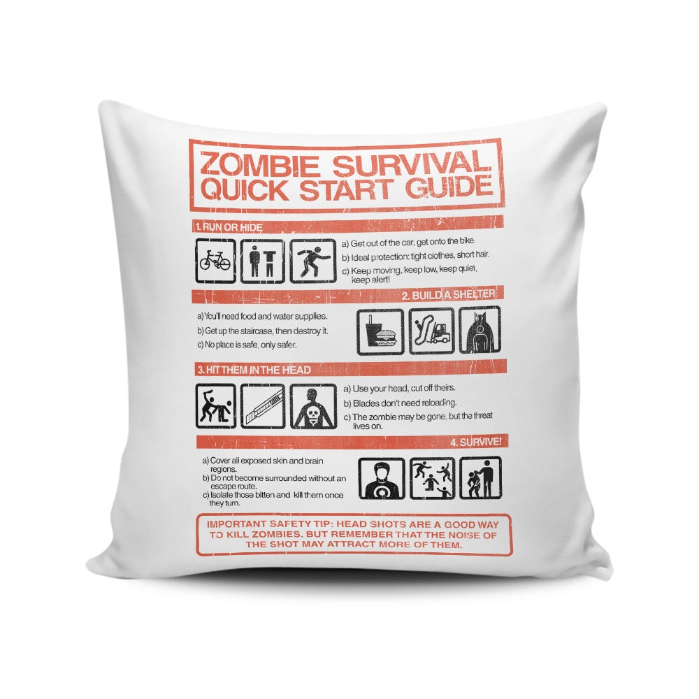 Zombie Survival Quick Start Guide (Alt) - Throw Pillow