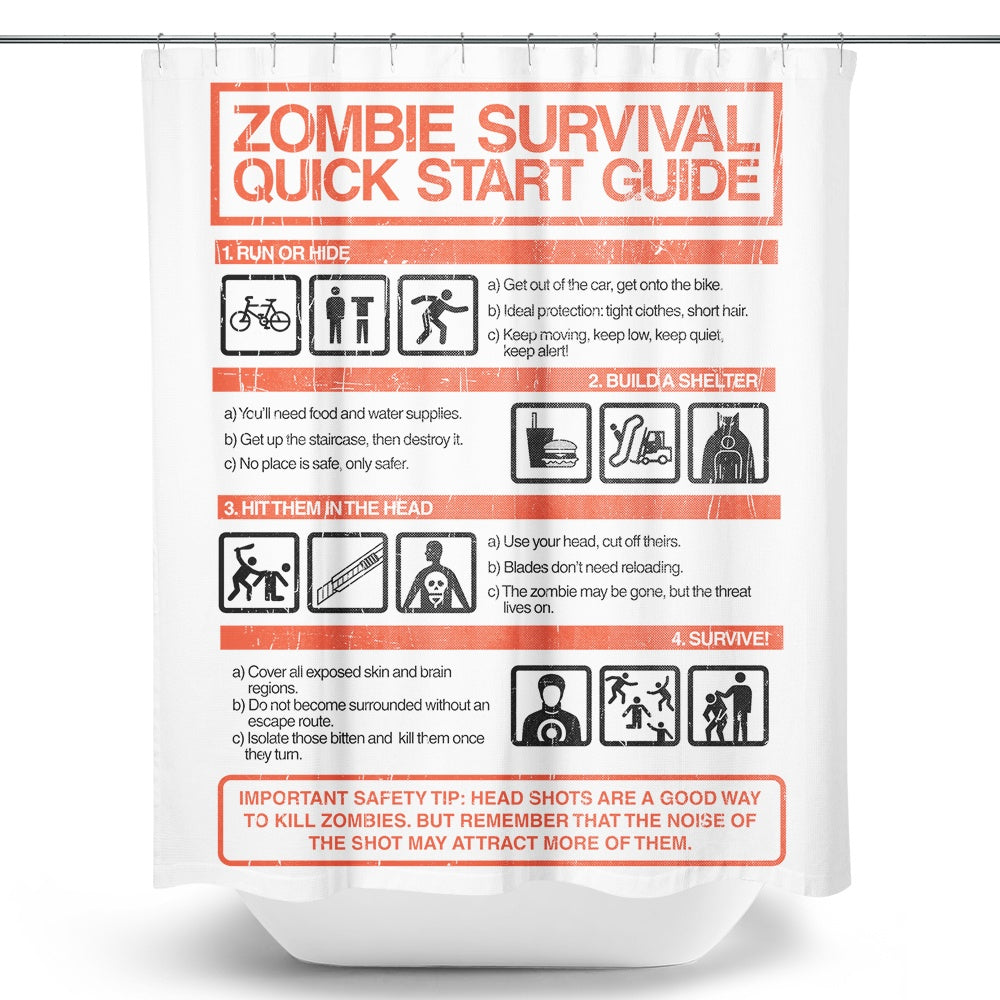 Zombie Survival Quick Start Guide (Alt) - Shower Curtain