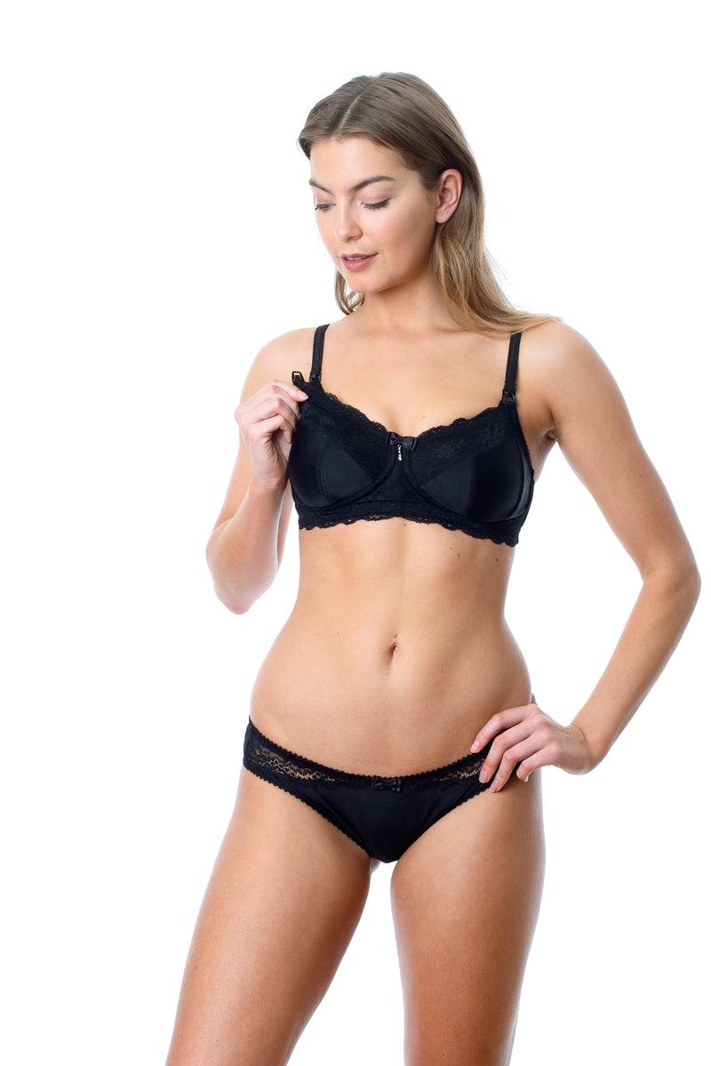 HOTMILK NURSING BREASTFEEDING PREGNANCY ECLIPSE JET BLACK NURSING BRA - WIREFREE WITH MATCHING ECLIPSE BRIEF BLACK
