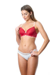 HOTMILK FOREVER YOURS MATERNITY NURSING BREASTFEEDING LACE RED CONTOUR NURSING BRA - FLEXI UNDERWIRE WITH SHOW OFF IVORY BIKINI BRIEFS