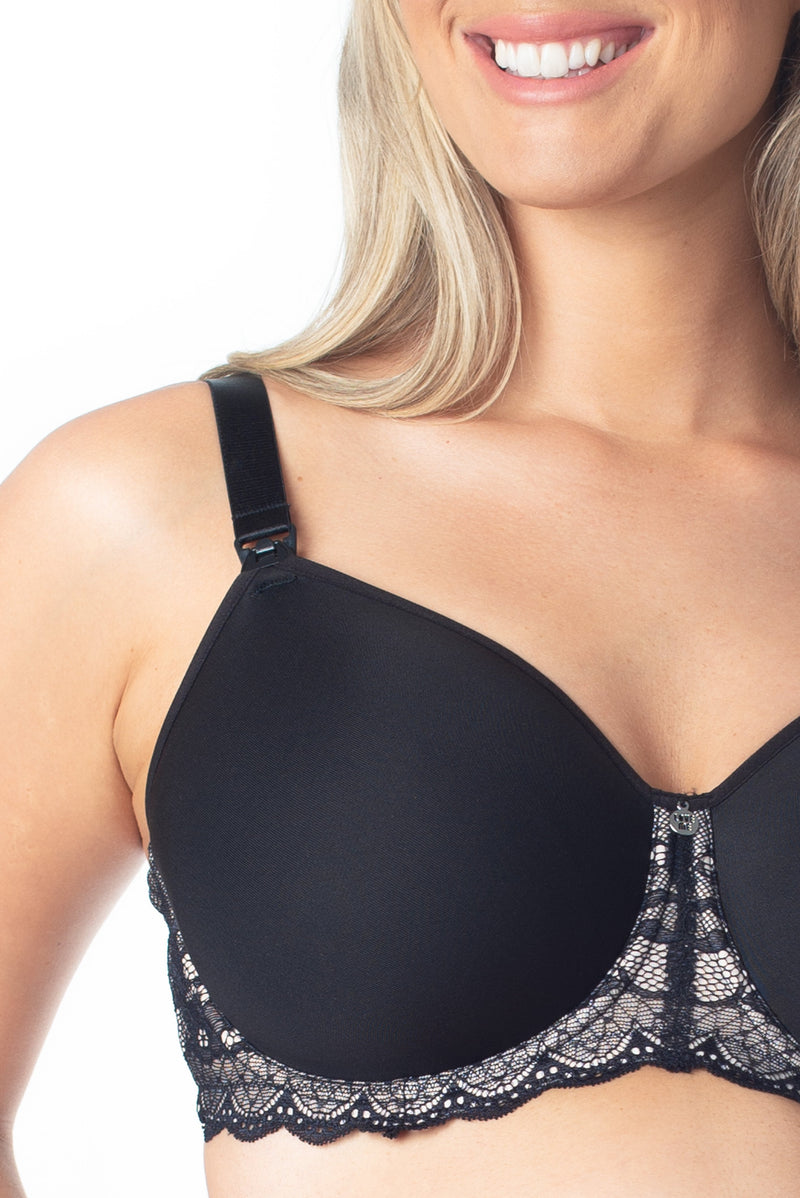 Obsession Black Nursing bra by Hotmilk Lingerie for maternity