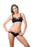 HOTMILK SHOW OFF JET BLACK NURSING BREASTFEEDING PREGNANCY BRA - WIREFREE WITH SHOW OFF JET BLACK BIKINI BRIEF
