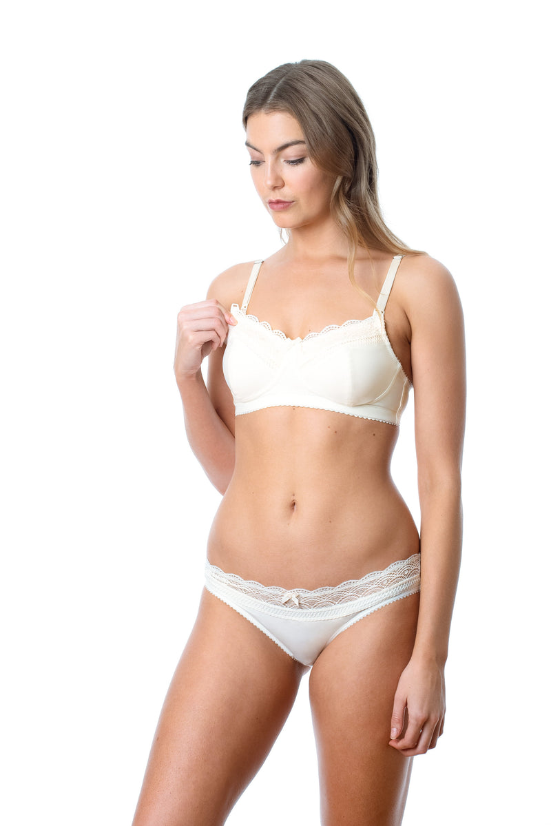HOTMILK SHOW OFF IVORY NURSING BREASTFEEDING PREGNANCY BRA - WIREFREE WITH SHOW OFF IVORY BIKINI BRIEF