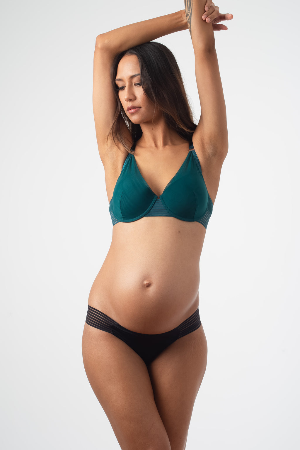 HOTMILK PROJECTME AMBITION PLUNGE DARK GREEN CONTOUR NURSING FEEDING PREGNANCY BRA - FLEXI UNDERWIRE