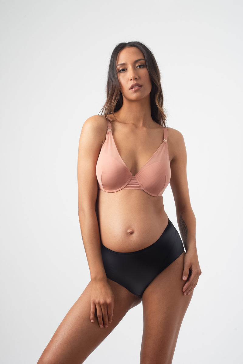 HOTMILK PROJECTME AMBITION PLUNGE ROSE FLEXI WIRE CONTOUR NURSING AND PREGNANCY BRA AND AMBITION HIGH WAISTED BRIEF BLACK
