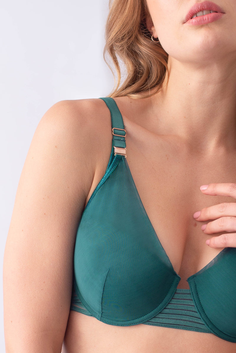 ambition deep green plunge flexiwire nursing and breastfeeding bra